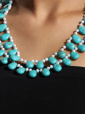 Turquoise Pearls Drop Double Strand Necklace