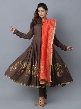 Brown Orange Foil Printed Cotton Chanderi Anarkali Suit - Set of 3