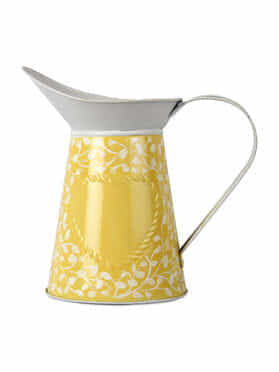 Yellow White Hand Painted Steel Watering Can