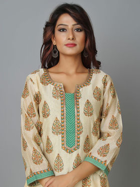 Beige Brown Cotton Chanderi Kurta