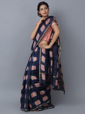 Blue Chanderi Clamp Dyed Saree
