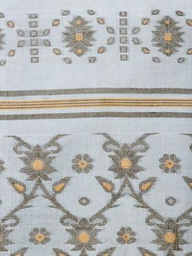 White Green Handloom Cotton Tant Zari Saree