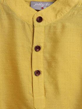 Yellow Cotton Silk Kurta and Pajama for Boys - Set of 2