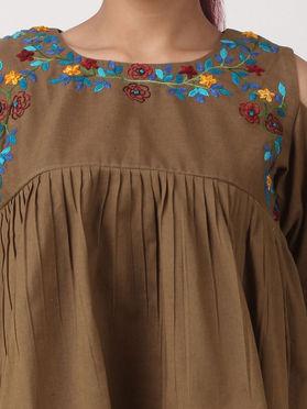 Brown Khadi Cotton Embroidered Cold Shoulder Crop Top