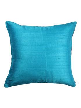 Blue Dupion Silk Hand Block Printed Cushion Cover