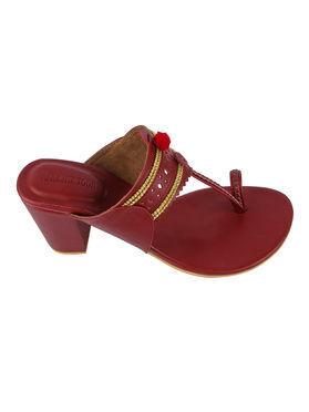 Maroon Leatherette Handcrafted Kolhapuri Sandals