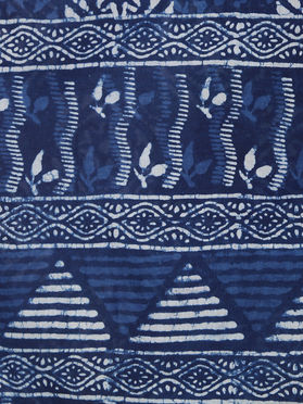 Indigo Cotton Hand Block Printed Saree