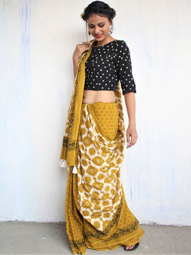 Yellow Cotton Mul Block Printed Saree