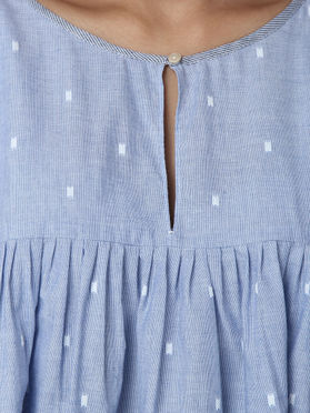 Blue Cotton Pleated Top