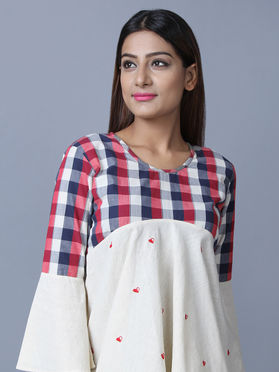 Ecru Chambray Cotton Hand Embroidered Checks Top