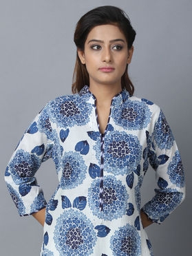 Blue Printed Cotton Straight Kurta