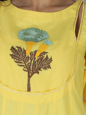 Yellow Cotton Embroidered Kurta with Palazzo - Set of 2