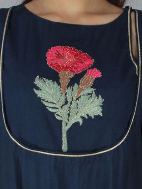 Blue Cotton Embroidered Kurta with Palazzo - Set of 2