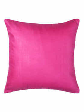 Magenta Embroidered Cotton Silk Cushion Cover