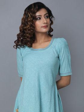 Blue Cotton Linen Asymmetric Dress