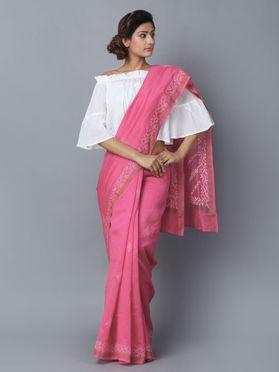 Rose Pink Chikankari Handwoven Chanderi Saree