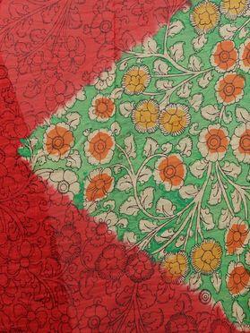 Red Green Flower Hand Painted Kalamkari Chanderi Dupatta