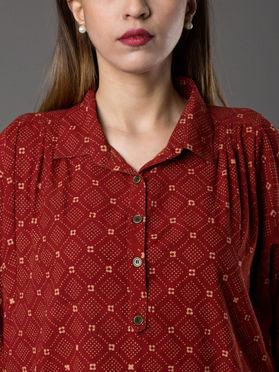 Maroon Cotton Hand Block Printed Shirt