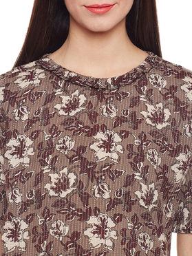 Brown Grey Cotton Kantha Dress