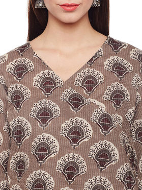Grey Cotton Kantha Top with Skirt - Set of 2