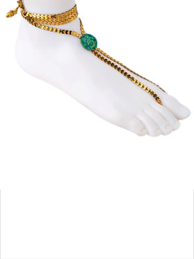 Golden Turquoise Coin Silver Adjustable Anklet
