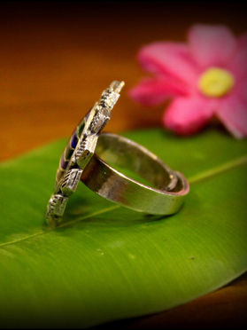 Purple Green Silver Traditional Ring