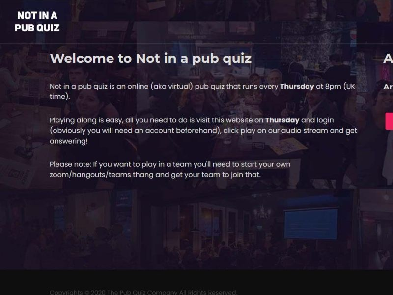 Not in a pub quiz online quiz night
