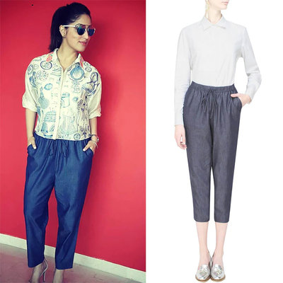 Blue relaxed drawstring pants by Anomaly