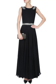 Black and Silver Floral Embroidered Anarkali Set by Malasa