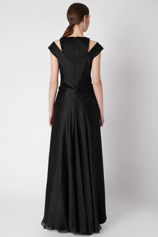 Black Nalki Embroidered Gown by Amit Aggarwal