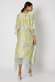 Sky Blue Embellished & Printed Floral Tunic by Archana Shah