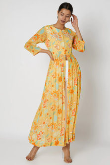 Yellow Floral Printed Dress With Slit by Archana Shah
