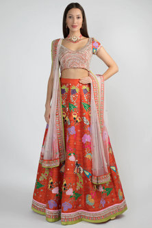 Burnt Orange Embellished Lehenga Set by Aisha Rao