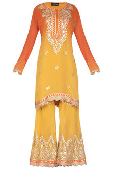Orange & Yellow Embroidered Ombre Gharara Set by Abhi Singh