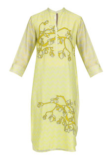 Yellow Digital Print and Applique Work Tunic by Abhijeet Khanna