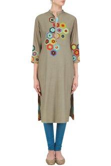 Grey Geometric Patchwork Tunic by Abhijeet Khanna