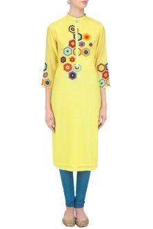 Yellow Geometric Patchwork Tunic by Abhijeet Khanna