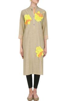 Dark Beige Floral Motifs Embroidered Tunic by Abhijeet Khanna