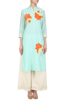 Mint Sequinned Floral Motifs Tunic by Abhijeet Khanna