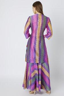 Purple Printed & Embroidered Sharara Set by Anupamaa Dayal