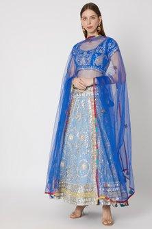 Sky Blue Embroidered Lehenga Set by Anupamaa Dayal