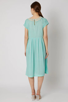 Turquoise Blue Embroidered Tunic by Adah