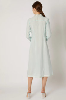 Sky Blue Embroidered Pleated Tunic by Adah