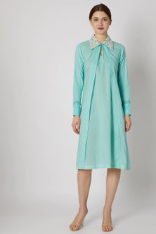 Turquoise Blue Embroidered Pleated Tunic by Adah