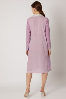 Purple Embroidered Tunic With Textured Sleeves by Adah