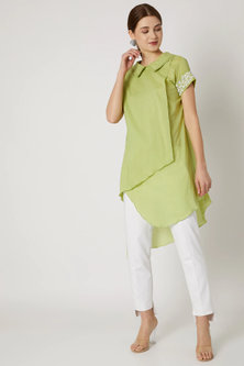 Lime Green Tunic With Embroidered Sleeves by Adah