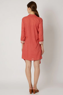 Red Wrap Tunic With Embroidered Cuffs by Adah