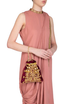Maroon Embroidered Velvet Potli Bag by Adora by Ankita