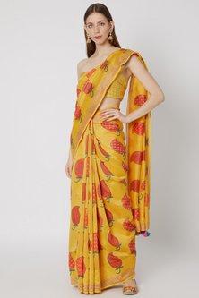 Yellow Printed Saree Set by Anupamaa Dayal