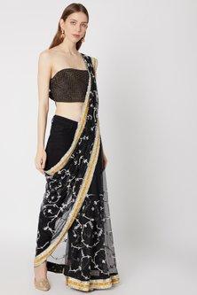 Black Printed & Embroidered Saree Set by Anupamaa Dayal